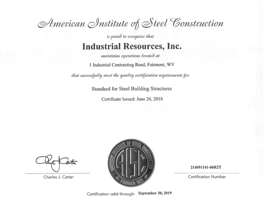 American Institute of Steel Construction Certification